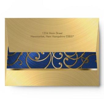 Navy Blue and Gold Filigree Swirls Envelope