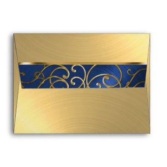 Navy Blue and Gold Filigree Swirls Envelope