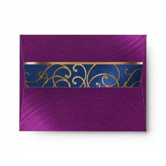 Navy Blue Plum Gold Filigree Swirls Envelope