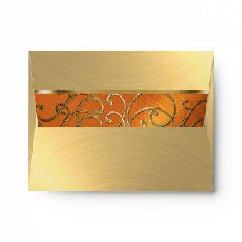 Orange and Gold Filigree Swirls Envelope