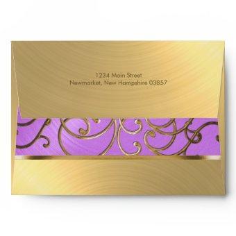Orchid Purple and Gold Filigree Swirls Envelope