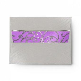 Orchid Purple Silver Filigree Swirls Envelope