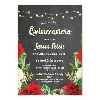 Party Chalk Red Roses Floral Invite