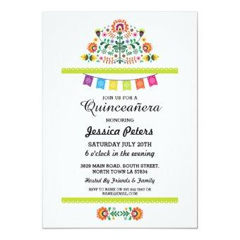 Quinceanera Party Floral Fiesta Mexican Birthday Invitation