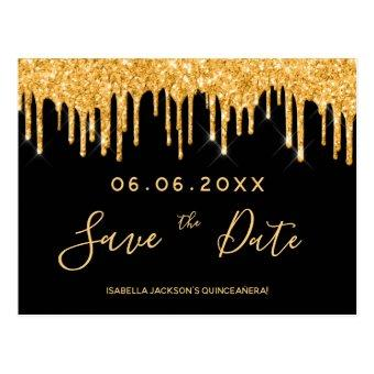 party gold glitter black save the date post