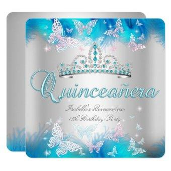 Party Pink Teal Blue Tiara Butterfly