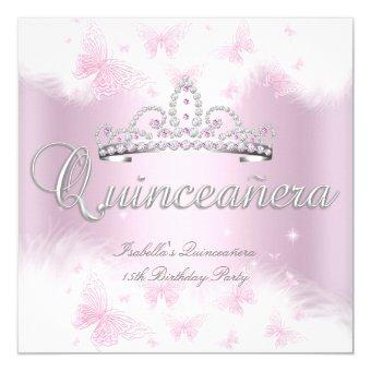 Party Pink White Tiara Butterfly