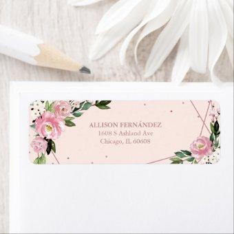 Party Rose Gold Foil Blush Pink Floral Label