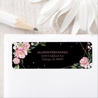 Party Rose Gold Foil Pink Floral Black Label