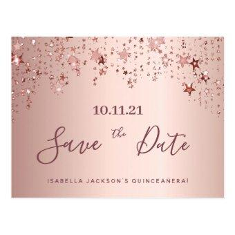 party rose gold stars save the date post