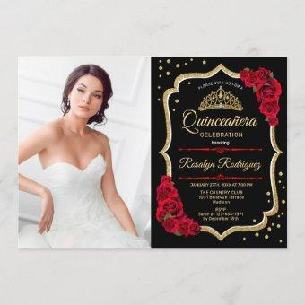 Party With Photo - Black Red Gold