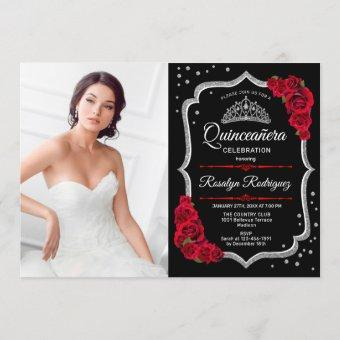 Party With Photo - Black Red Silver