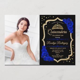 Party With Photo - Royal Blue Gold
