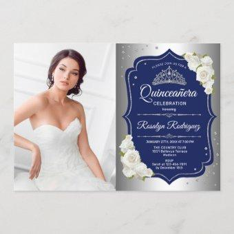 Party With Photo - Silver Navy