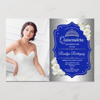 Party With Photo - Silver Royal Blue