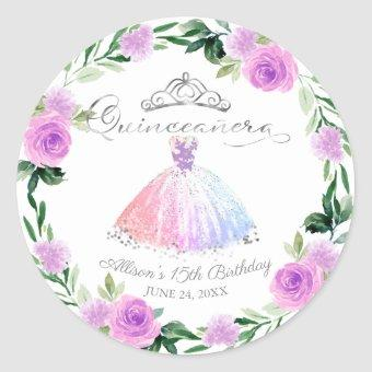 Pastel Colors Silver Gown Floral Classic Round Sticker