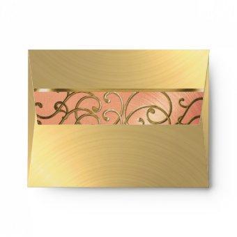 Peach and Gold Filigree Swirls Envelope