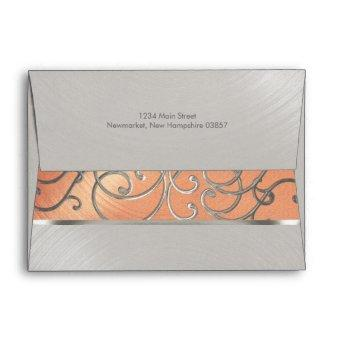 Peach and Silver Filigree Swirls Envelope
