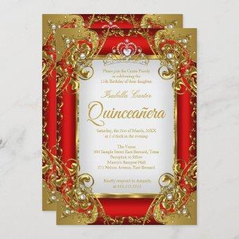 Photo Red Golden Pearl Tiara Party