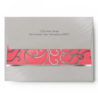 Pink and Silver Filigree Swirls Envelope