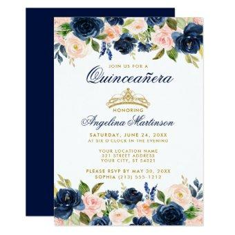 Pink Blue Floral Crown Gold Invite