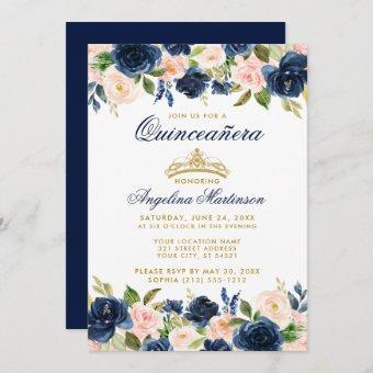 Pink Blue Floral Crown Gold Invite