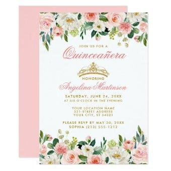 Pink Blush Floral Gold Crown Invite