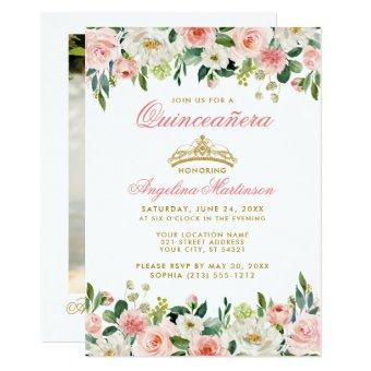 Pink Blush Floral Gold Crown Photo