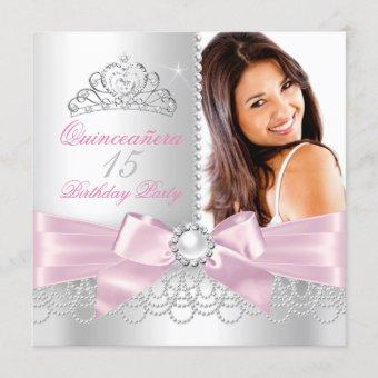 Pink Bow white Pearls Photo Birthday