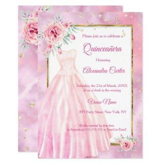 Pink Dress Floral gold Birthday Party