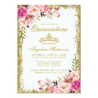 Pink Floral Gold Glitter Crown Invite