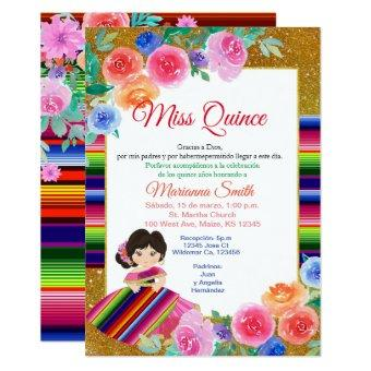 Pink Floral Mexican Miss Quince Invite
