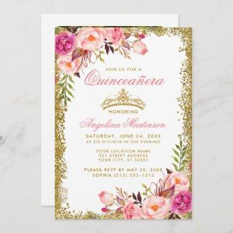 Pink Floral Photo Gold Glitter Crown
