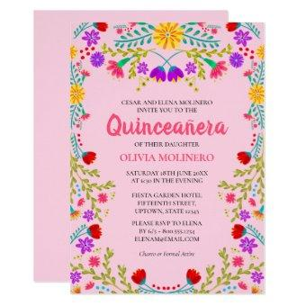 Pink Mexican Floral 15th Birthday