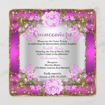 Pink Vintage Country Floral Gold
