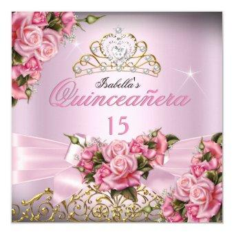 Pretty Pink Roses Tiara 15th Birthday