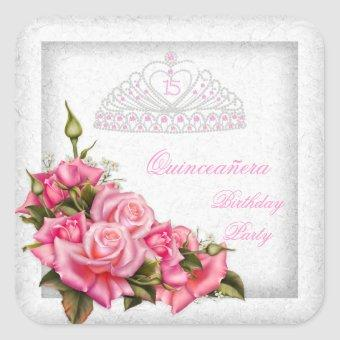 Pretty Pink Roses White 15th Party Square Sticker