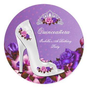 Pretty Princess Purple Pink Roses 3R Classic Round Sticker
