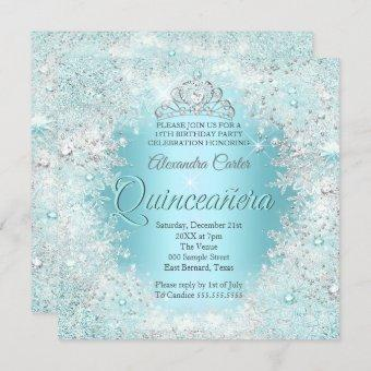 Pretty Silver Teal blue Snowflakes
