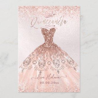 Quinceañera, Princess Faux Rose Gold Tiara+Gown