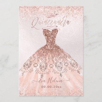 Quinceañera, Princess Faux Rose Gold Tiara+Gown