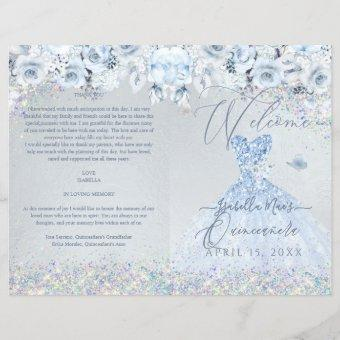 Program Baby Blue Floral Glitter Gown