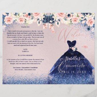Program Blush Floral Navy Glitter Gown