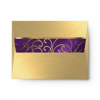 Purple and Gold Filigree Swirls Envelope