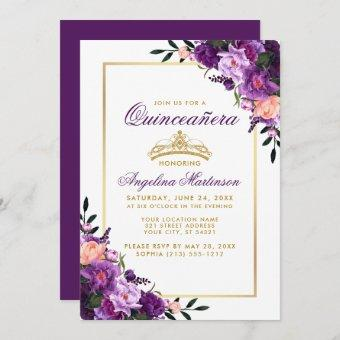 Purple Floral Gold Crown Invite P