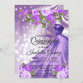 Quinceañera Purple Gown and Flowers