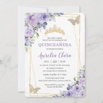 Quinceañera Purple Lilac Floral Butterflies Tiara