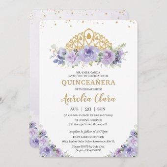 Quinceañera Purple Lilac Floral Princess Tiara
