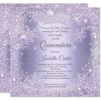 Purple Lilac Snowflake Winter party