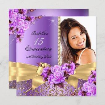 Purple Photo Gold Rose 15th Birthday